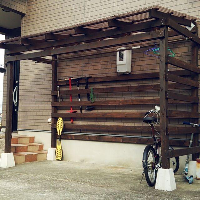 リビング diy ずらずら連合 ๑ ϖ ๑ ついつい連合 サイクルポートのインテリア実例 2015 11 07 14 56 15 Roomclip ルームクリップ 自転車小屋 自転車置き場 物置小屋の作り方
