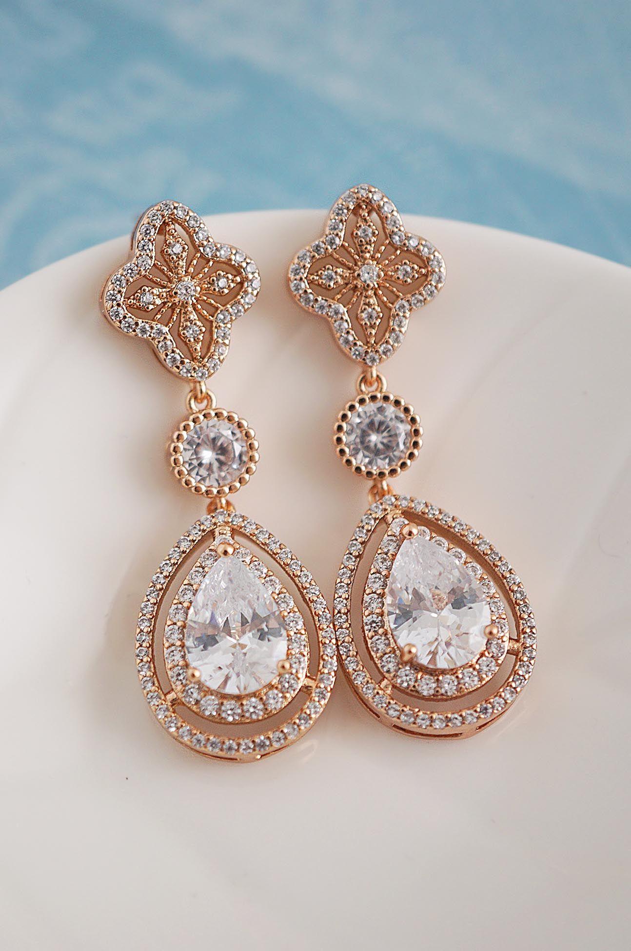 c67103fc2 Rose gold bridal earrings from Earringsnation Bridal Jewelry Rose gold  wedding blush earrings bridesmaid gift rose gold earrings