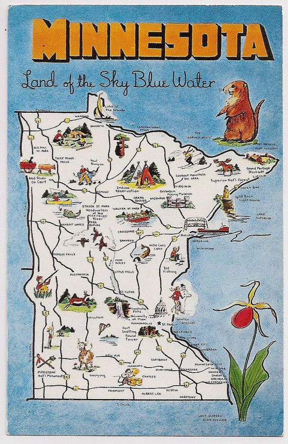 Vintage State Map Postcards Minnesota State Map Vintage Chrome - Map of the us with mn highlighted