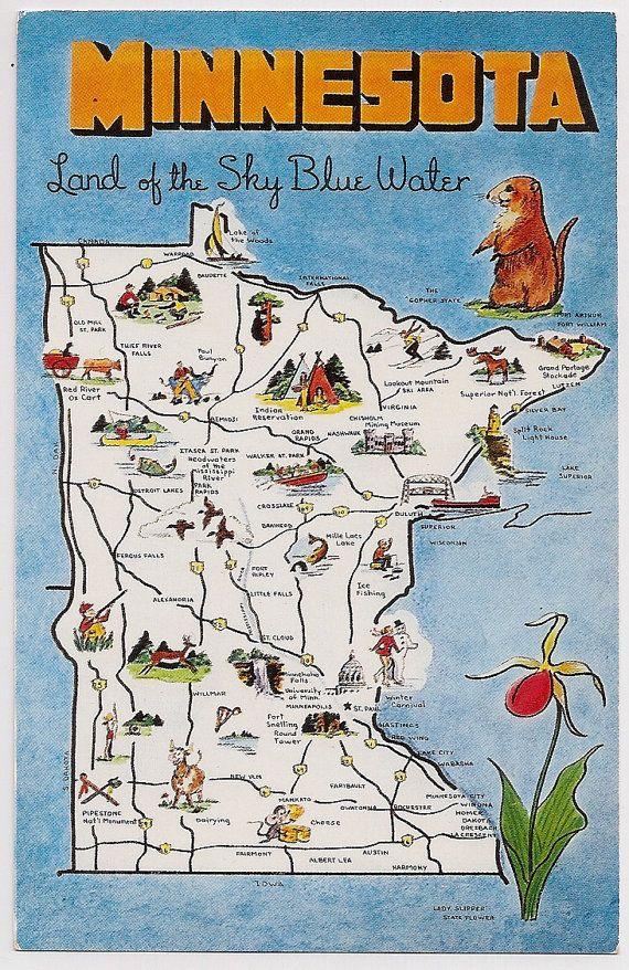 Retro Minnesota Tourist Map Souvenir Postcard Vintage Postcards - Minnesota map usa