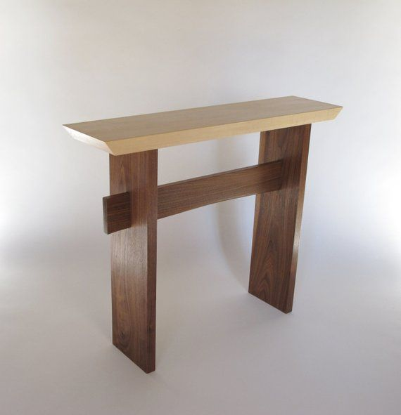 Narrow Minimalist Hall Table Wood Entryway Table Console