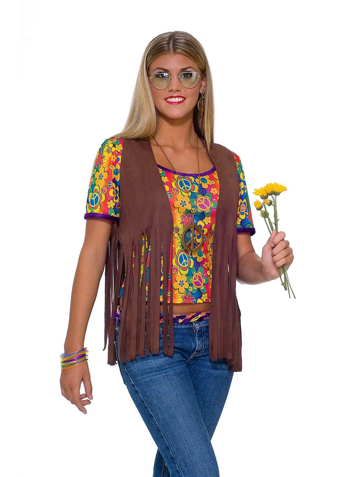 70S Male Female Hippie Vest Groovy Peace Brown Costume Accessory Adult