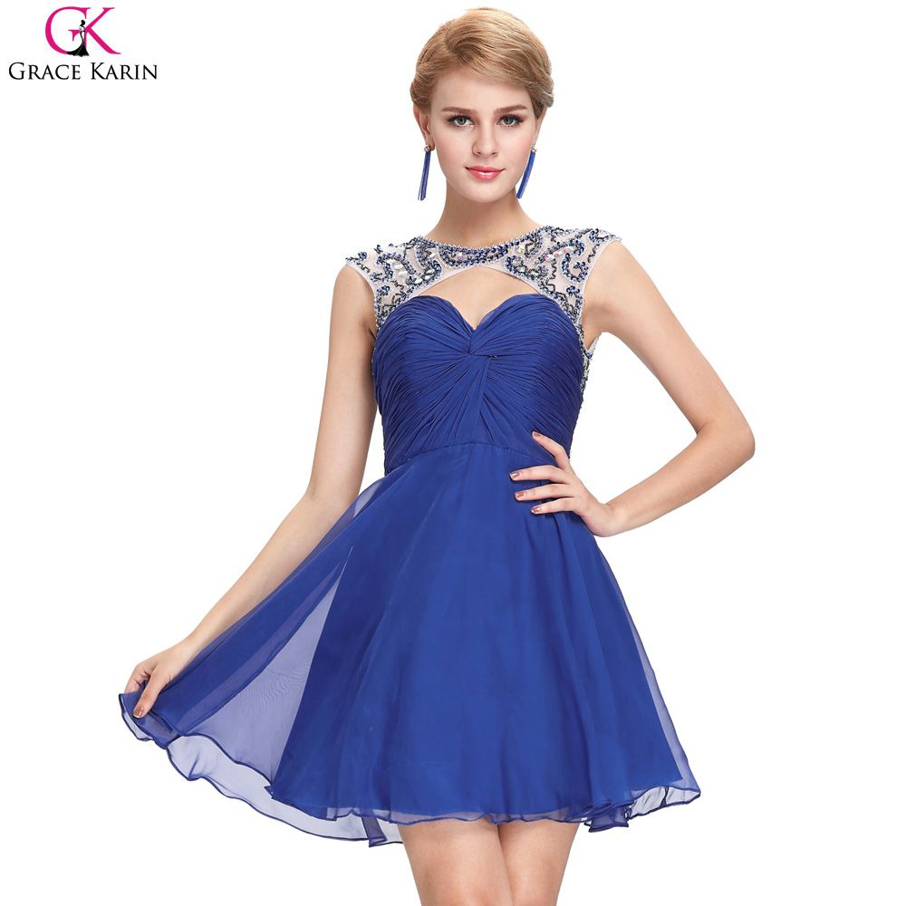 Grace Karin Cocktail Dresses Beaded Sequin Chiffon Backless Blue ...