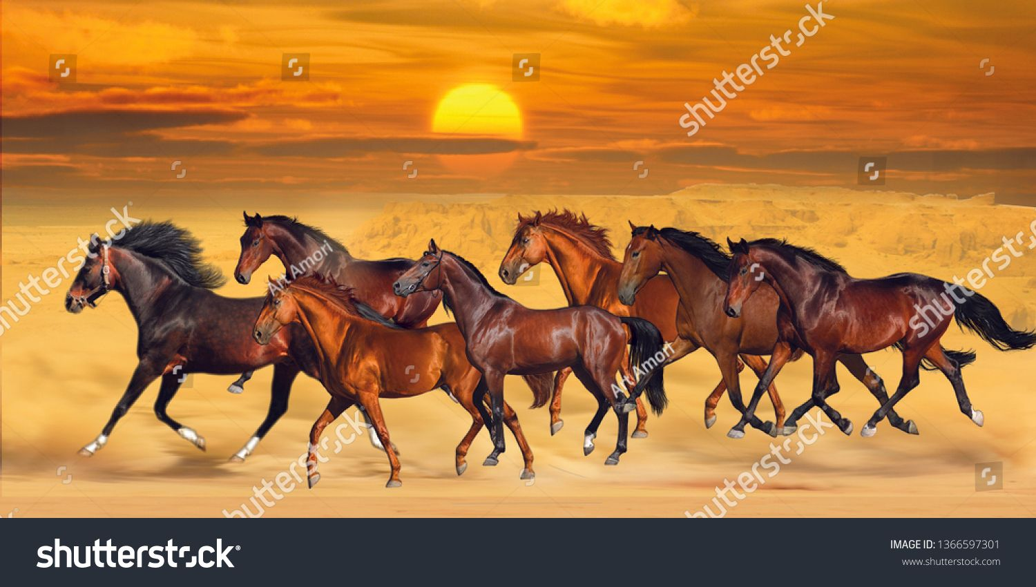 Brown Seven Running Horses On Sea Cost Sunshine Natural Background 3d Wallpaper Graphical Poster Modern Artwork Ad Running Horses Horses Stock Illustration