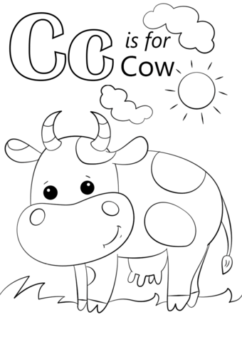 Letter C Is For Cow Coloring Page From