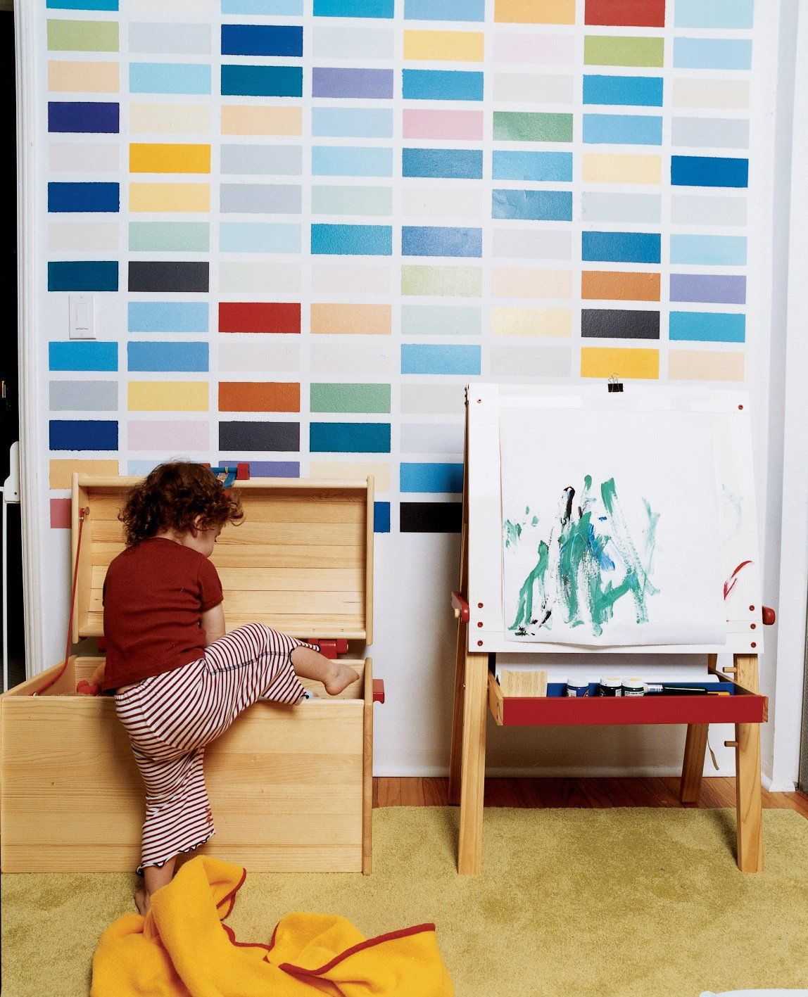 Kids Room Carpet Floor Toddler Age And Playroom Type Sosi Gets Into Trouble Beneath A Colorful Grid Painted By Her Dad As Riff On The German