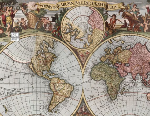 Vintage world map 1700s medieval world map with the 4 seasons wall vintage world map 1700s medieval world map with the 4 seasons wall by ngartprints http gumiabroncs Image collections