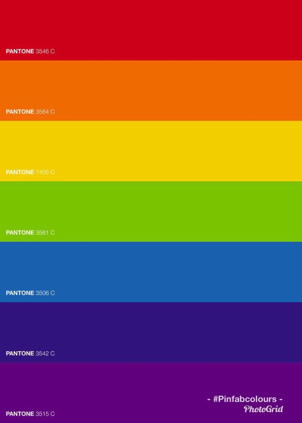 Rainbow Colours By Pantone Created By Pinfabcolours Rainbow