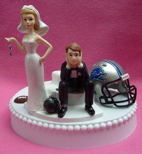 Detroit Lions Football Themed Key Wedding Cake Topper Garter Unique