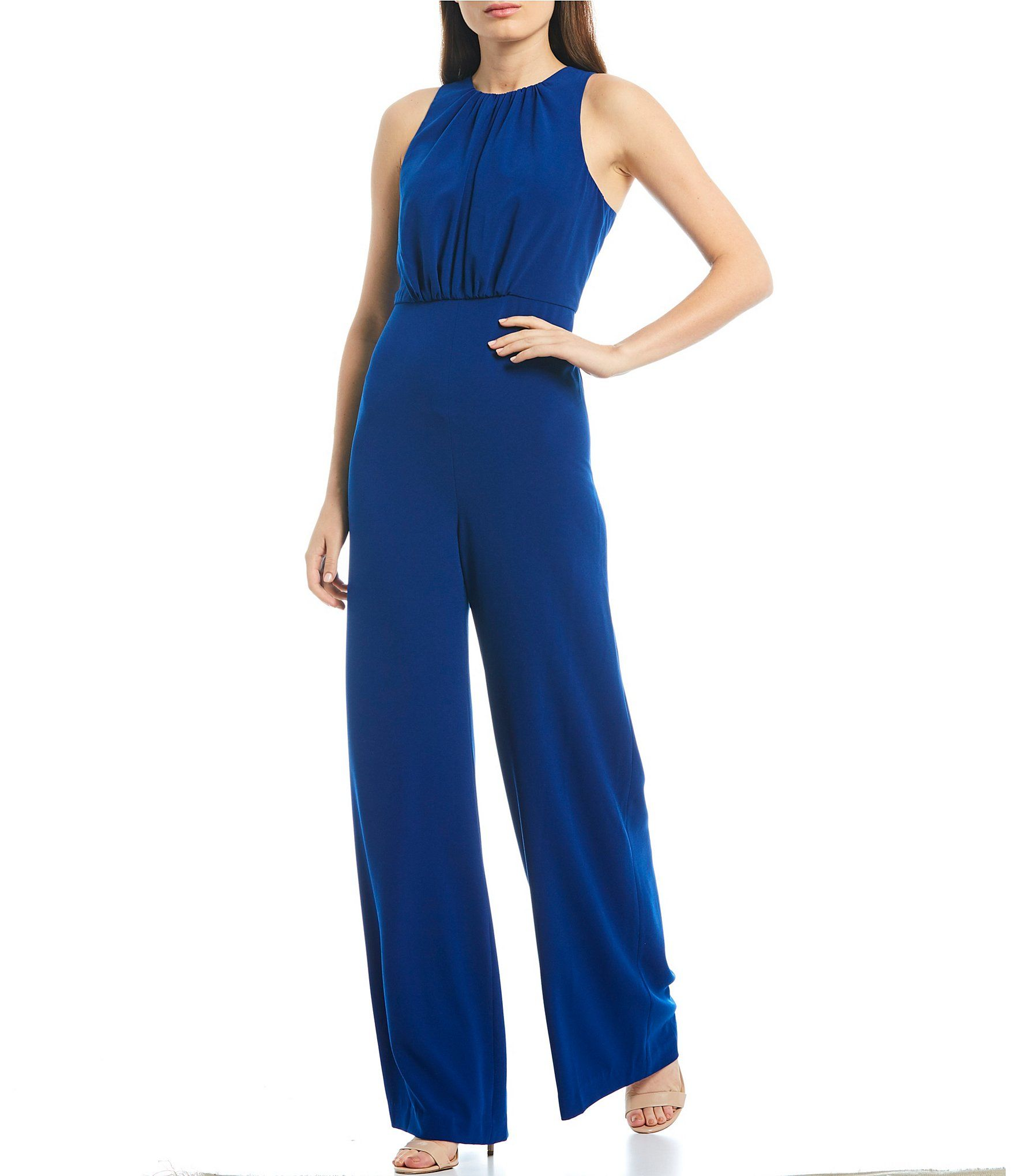 Halston Heritage Crepe Ruched Bodice Wide Leg Jumpsuit - Royal Blue 14