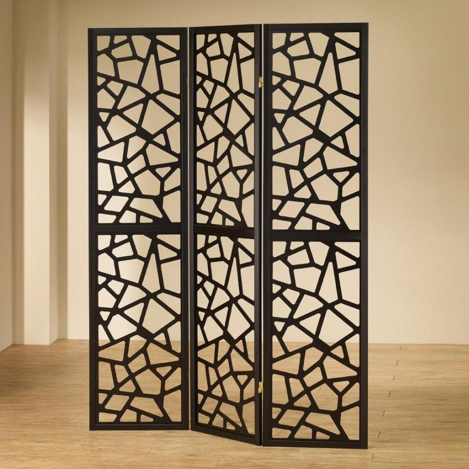 intricate sliding room divider. 900092 Coaster 3 panel black finish wood frame room divider shoji screen  with intricate cut geometric design Measures wide panels x H Accessories Extraordinary Black Metal Panel Folding Screen Room