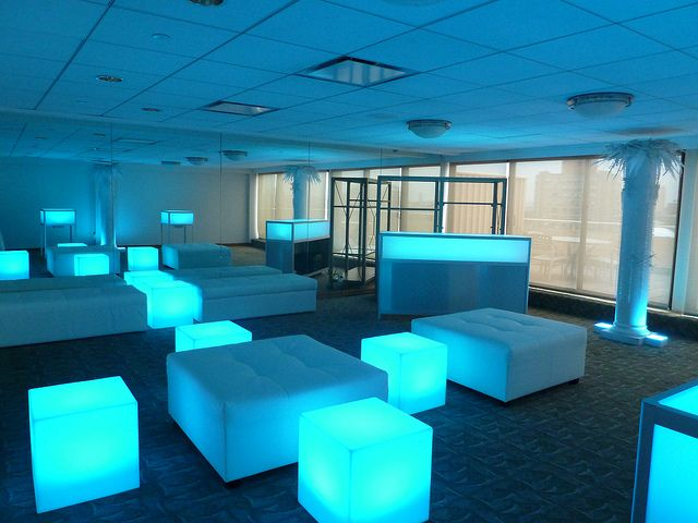 Glow Cubes Led Colorful Light Up Glowing Cubes And Glo Bar With Bench And Square White Leather