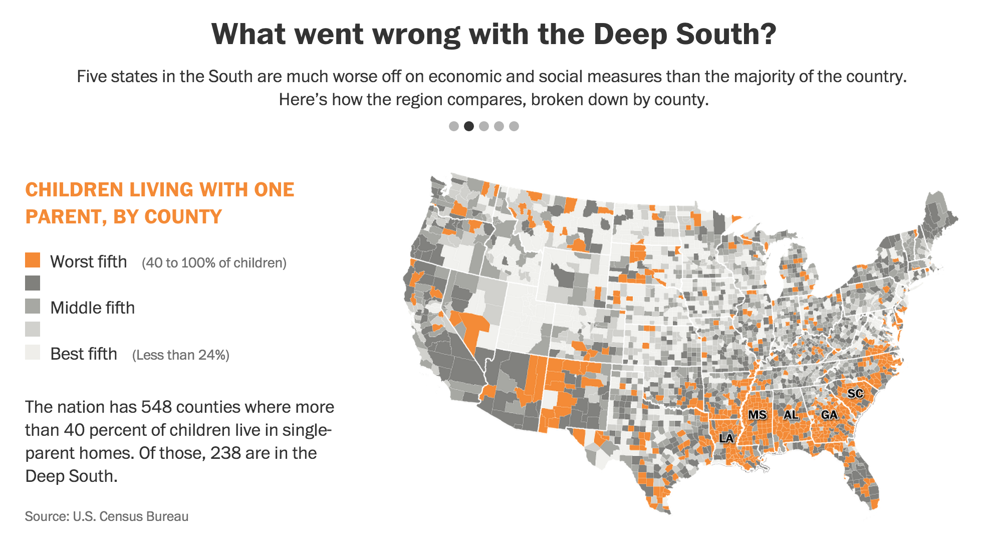 Children Living With One Parent By County What Went Wrong With The Deep South Http Wapo St 1ccnbzg Digital Cartography Cartography Interactive Map