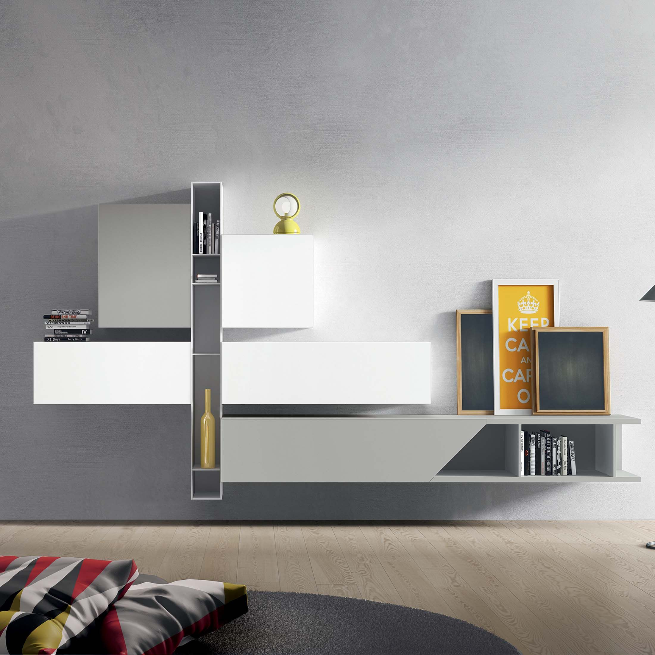 Modern italian tv unit cube by santarossa in neve and for Contemporary tv media units