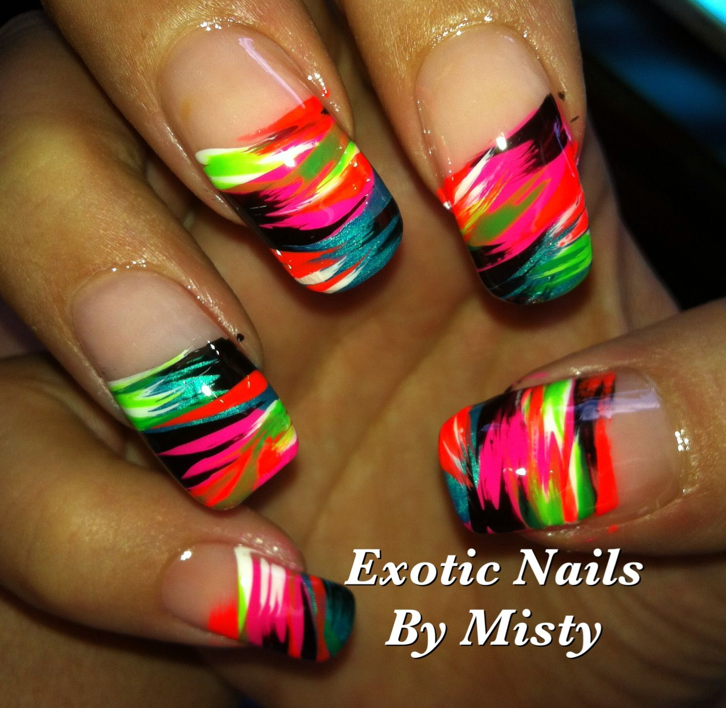 Neon summer nails   Exotic Nails Hand painted nail art   Pinterest ...