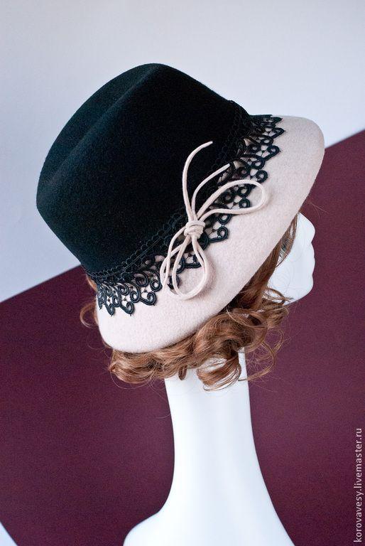 """Купить """"Кружевная графика"""" - черно-белый, шляпа, шляпа с полями, модный аксессуар, головной убор"""