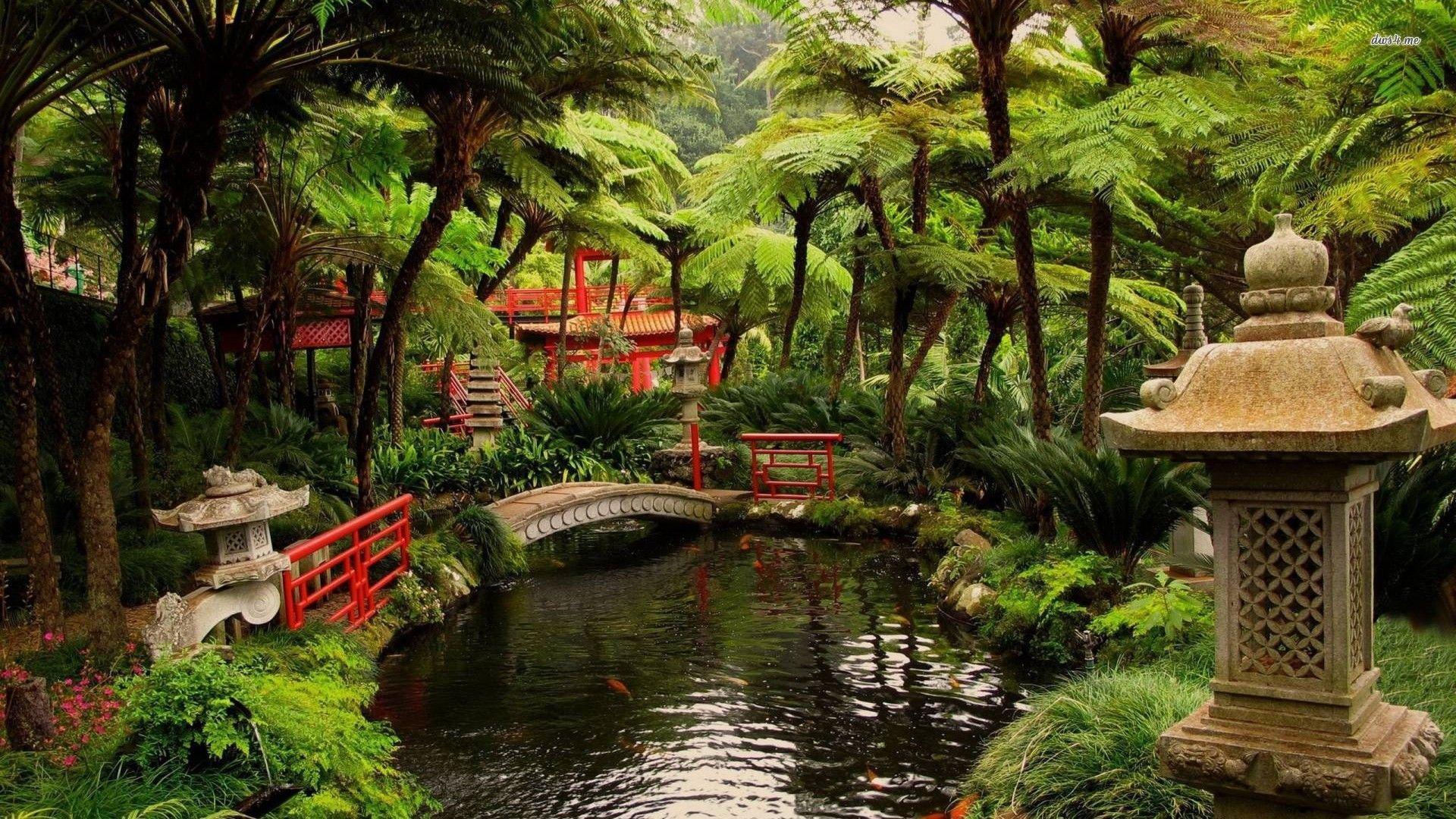 Other Japanese Garden Bridge Pond Building Trees World Wallpaper