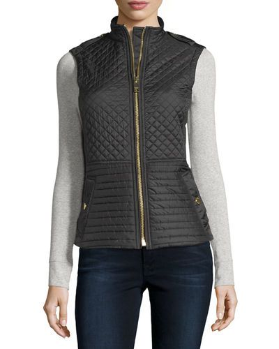 Tindale Quilted Zip-Front Vest, Red