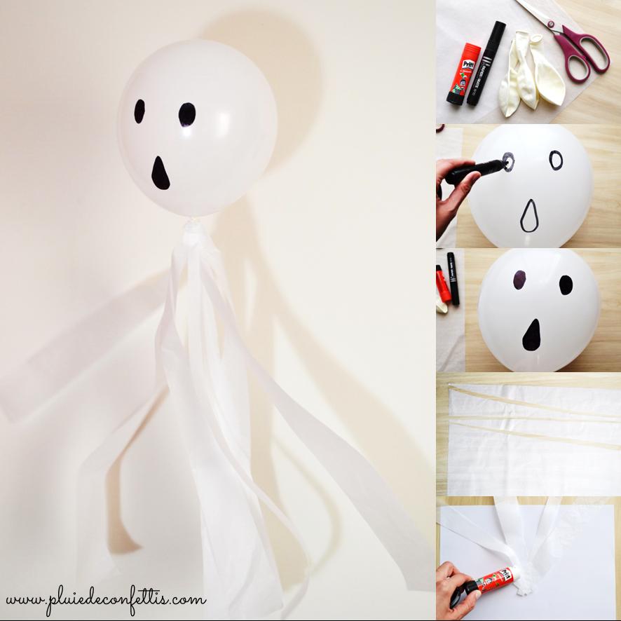 Halloween DIY balloon ghost - Manualidades fantasma de Halloween hecho con globo y papel, a descubrir en blog.pluiedeconfettis.com!