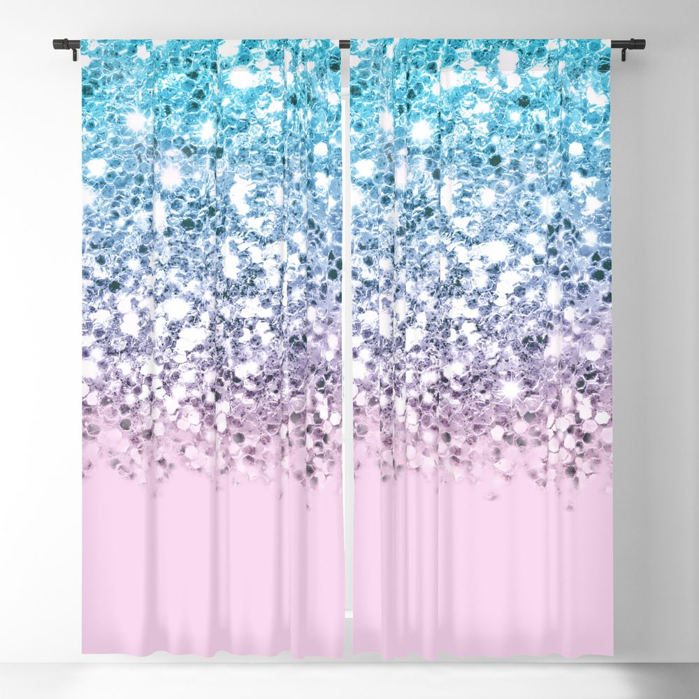 Sparkly Unicorn Blue Lilac Pink Ombre Blackout Window Curtains By Nlmiller07art Ombre Curtains Blackout Curtains Glitter Decor