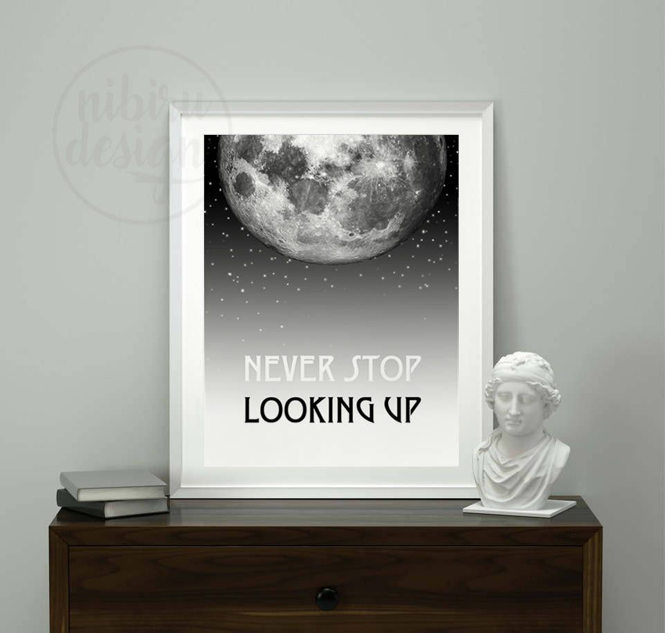 MOON, Never Stop Looking Up, Wall Print, Motivational Wall Art, Moon Wall Print, Moon Print, Moon Wall Art, Motivational Print by NibiruDesign on Etsy