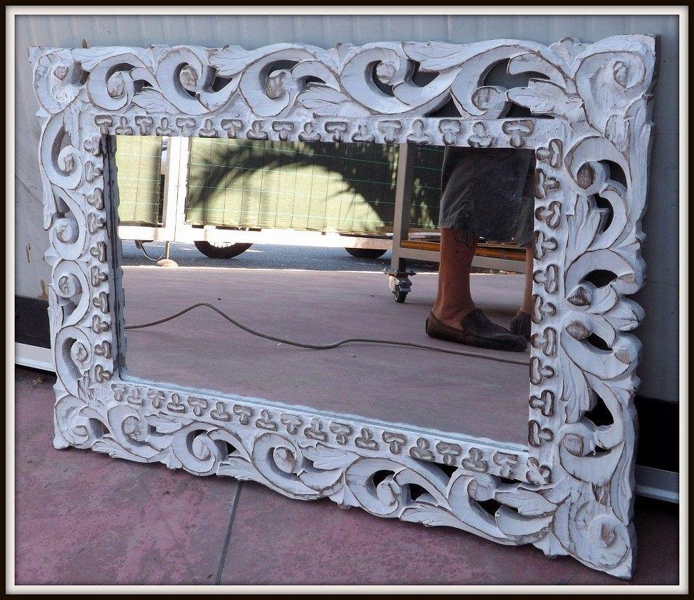 Specchio Legno Decapato.Specchio In Legno Con Intarsi Colore Bianco Decapato
