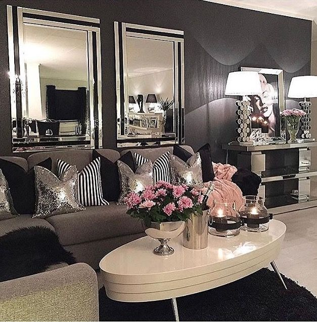Love This Compliment Of Gray Black White With A Pop Of Pink Silver Living Room Elegant Living Room Elegant Living Room Design