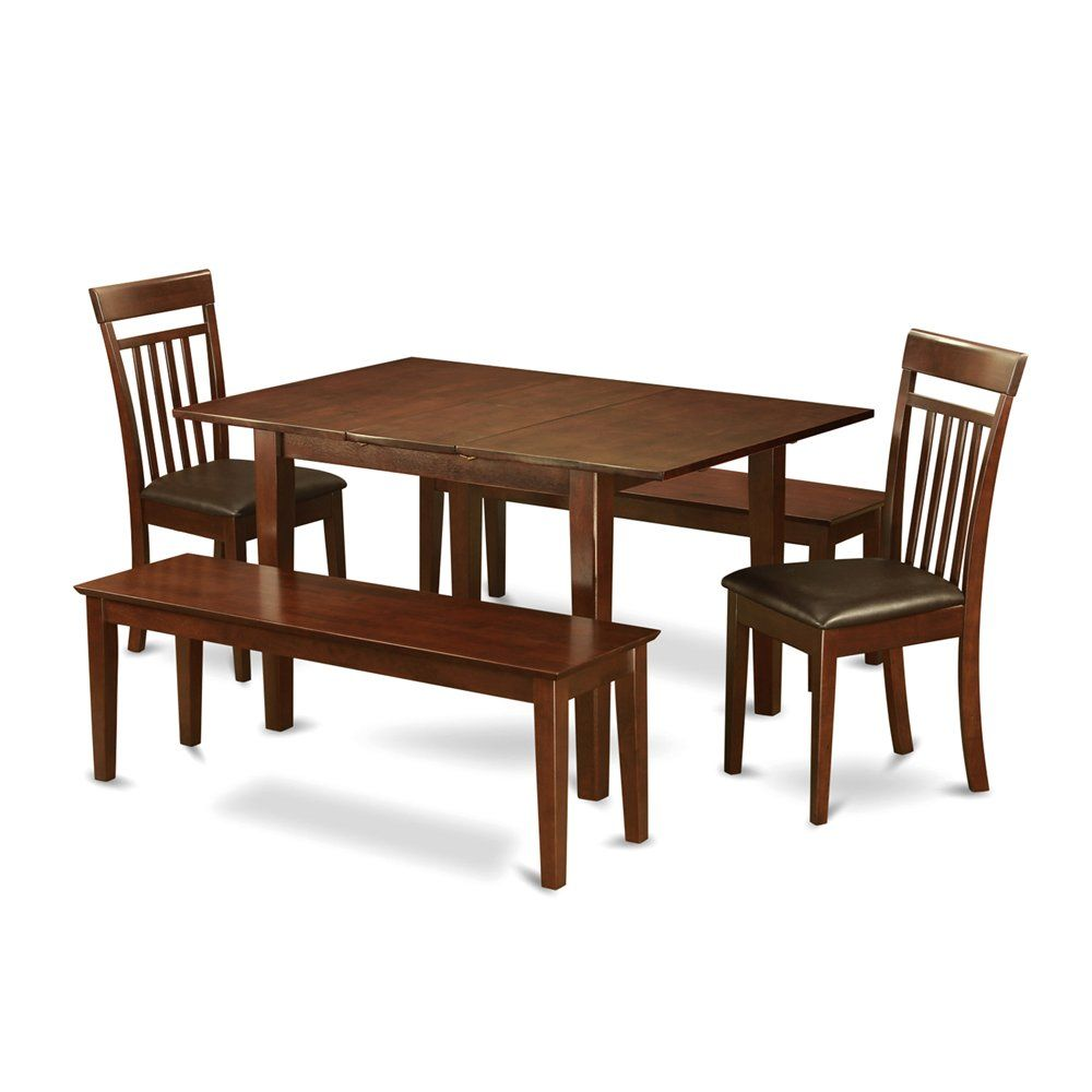 Shop east west furniture psca picasso dining table set with faux leather seat chairs at atg