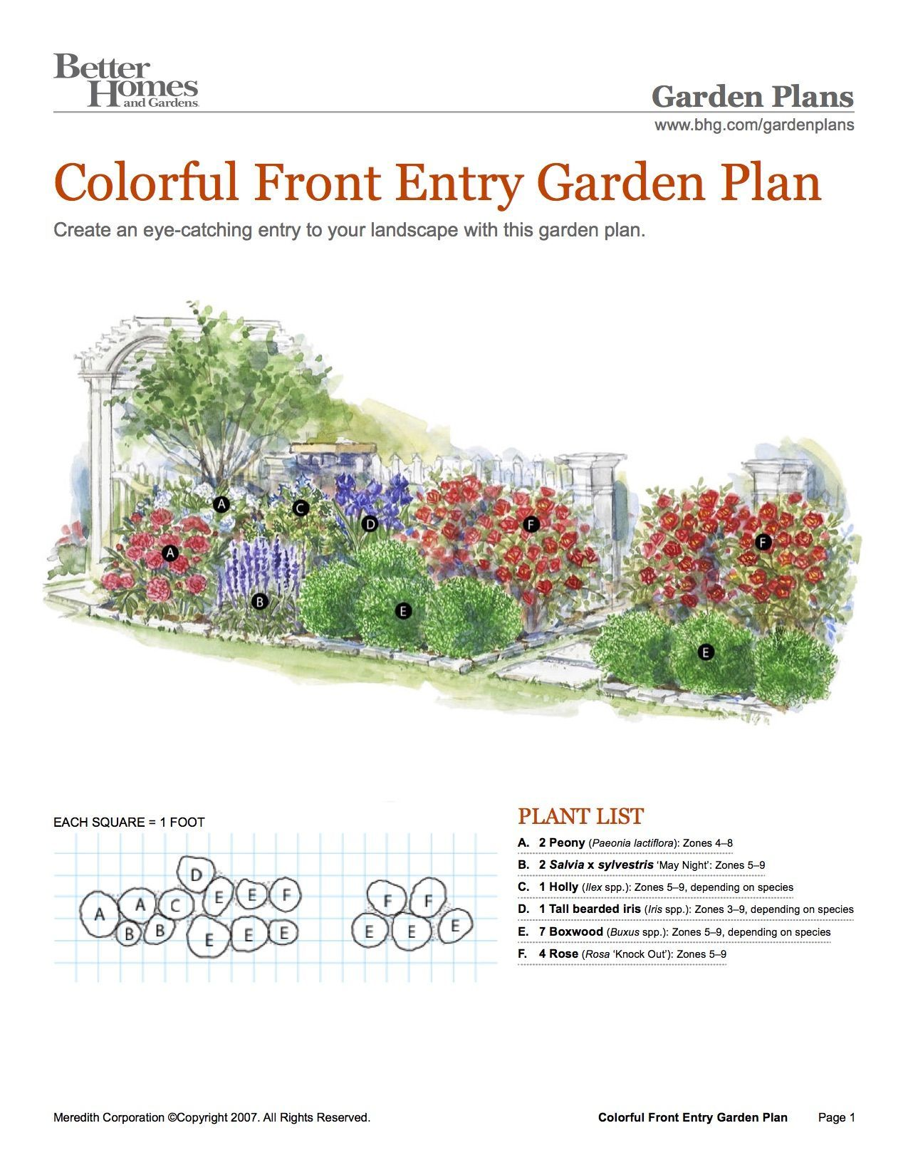 Bhg Colorful Front Entry Garden Plan Flower Garden Plans