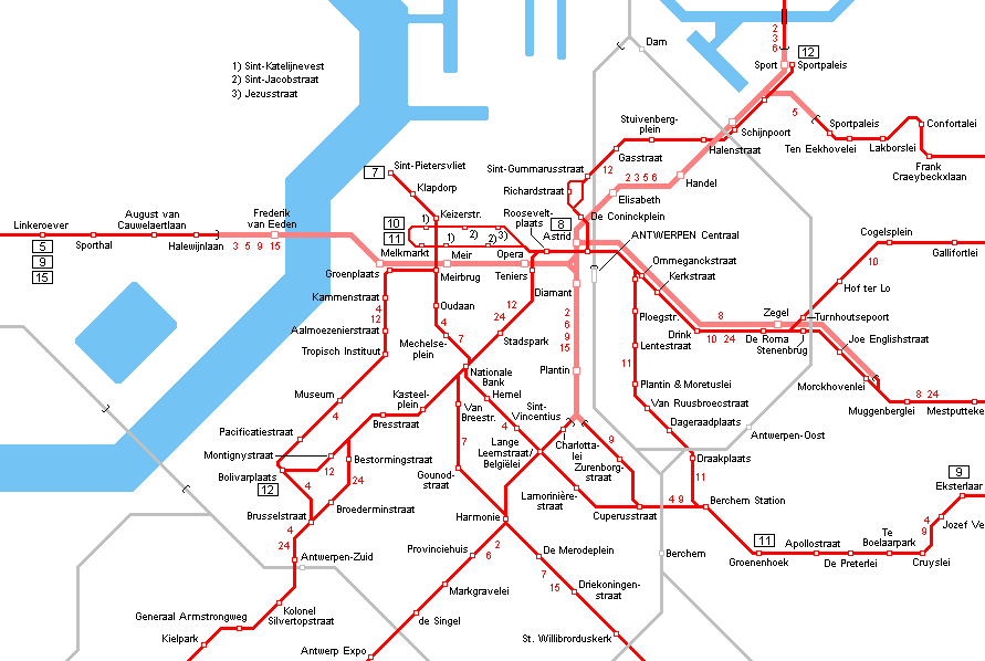 Antwerpen Tram Premetro Network Map Openbaar vervoer Antwerpen