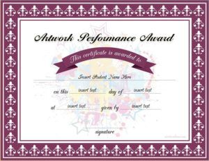 Best Artwork Performance Award Certificate Template For Ms Word