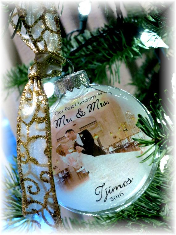 Married Ornament as MR & MRS for First Christmases. A Custom Handmade Holiday Glass Photo Bride Groom Makes a great Gift. Its Large and is printed similar in effect to Thin Vellum or Etched Glass  The perfect gift for the Mr and Mrs. These ornaments measure 3.14 + inches wide and tall and about 1.5 + inch deep. Printed on a special frosted transparency protectively placed inside the bulb, this gem not only glows when only slightly back lit but the frosting I apply to the transparency also...