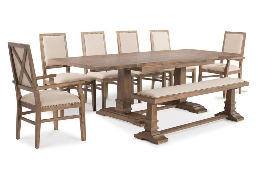 Larissa Extending Dining Set With Bench 4 Dining Chairs And 2 Carver Chairs 8 Piece Dining Set With Bench Dining Set Dining
