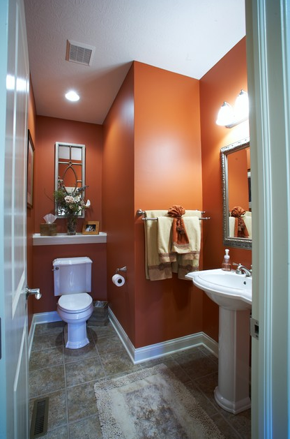 Orange You Glad That Cavern Clay Sw 7701 Looks So Stunning In This Bathroom Bathroom Colors Orange Bathrooms Traditional Bathroom