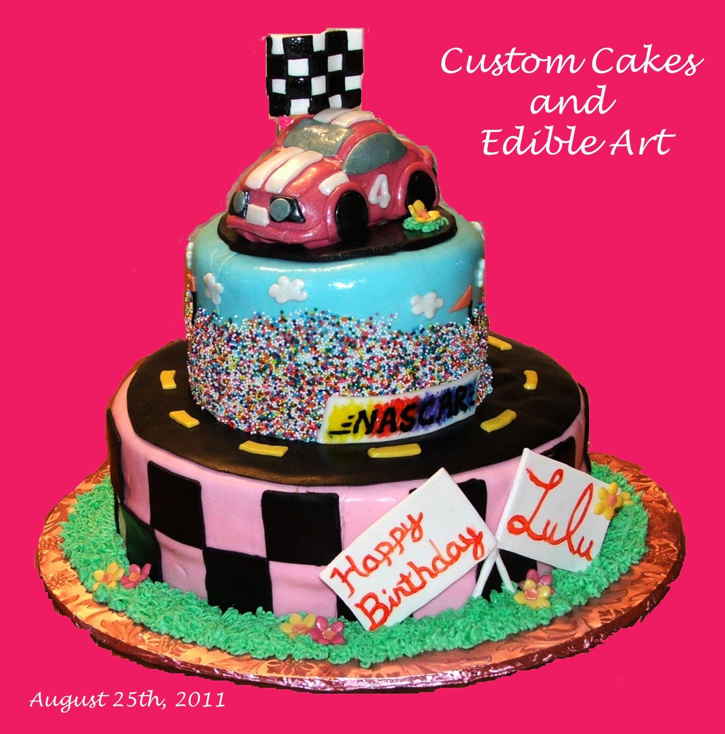 Fun Girls Race Car Cake I Made With Images Cars Birthday Cake