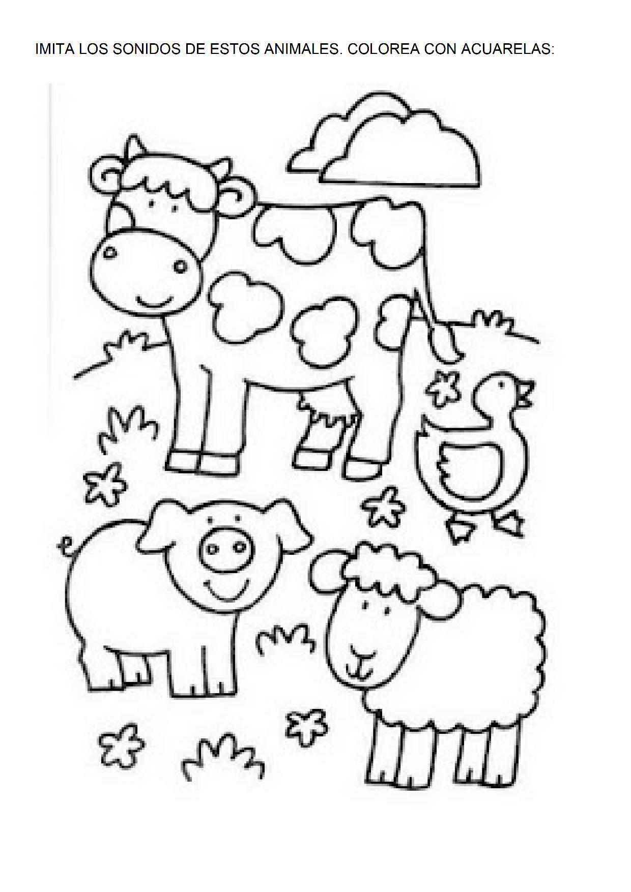 La Granja Dibujos Para Colorear Escuela En La Nube Recursos Para Infantil Y Primaria Proyectos De Animales Animales De La Granja Imagenes De Animales