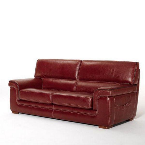 Canapé Cuir De Vachette BOMBAY Places Rouge Canapés - Canapé cuir 3 places fauteuil