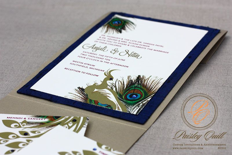 Perfect Peacock Themed/Hindu Wedding Invitations