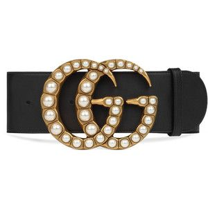 8360c1a0a Gucci Wide Leather Belt With Pearl Double G | belt | Wide leather ...