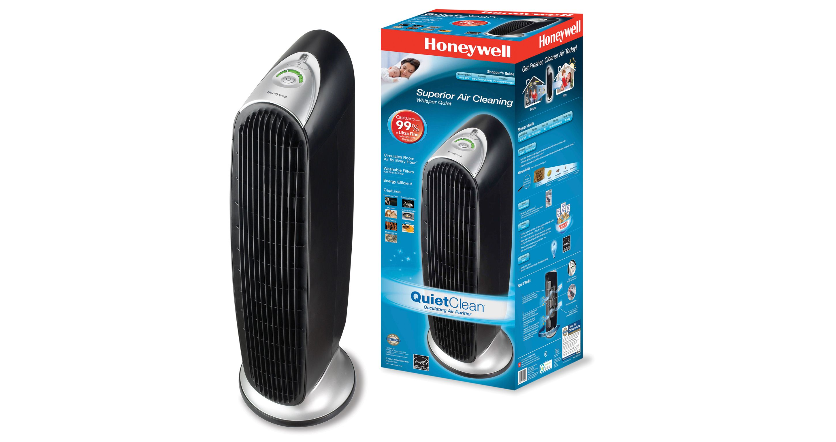 Honeywell hfd120q quietclean tower air purifier with