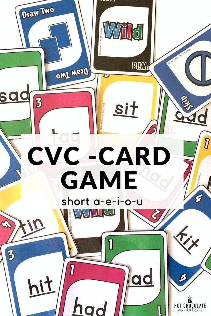 Literacy Card Game for CVC short vowels aeiou Plays