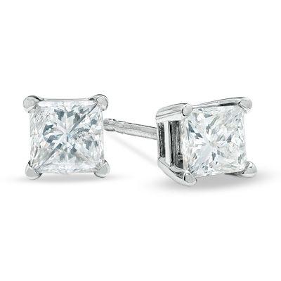 T W Princess Cut Diamond Solitaire Stud Earrings In 14k White