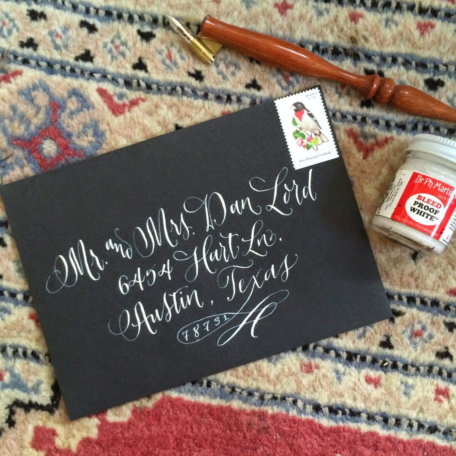 Antiquaria: Calligraphy in Action | Envelope Addressing in White!