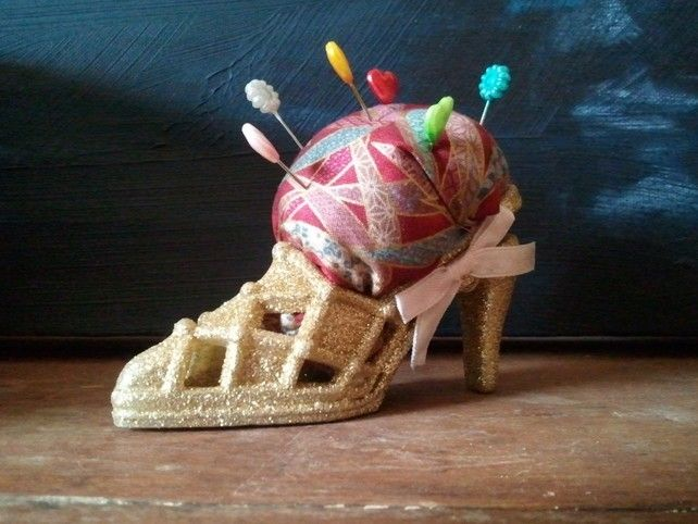 Cinderella's Wicked Step Mother's Golden Court Shoe Pin Cushion. £4.50