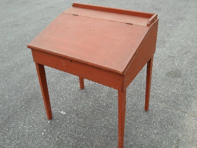 Antique Pine Hepplewhite Slant Top Desk ~ Red Paint ~VA Antique Desk,  Antique Paint - Antique Pine Hepplewhite Slant Top Desk ~ Red Paint ~VA 1700's