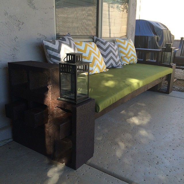Diy Patio Couch And Cushion I Made An Easy Cinder Block Couch With A Homemade Bench Cushion With Small Bac Patio Couch Diy Patio Furniture Diy Furniture Couch