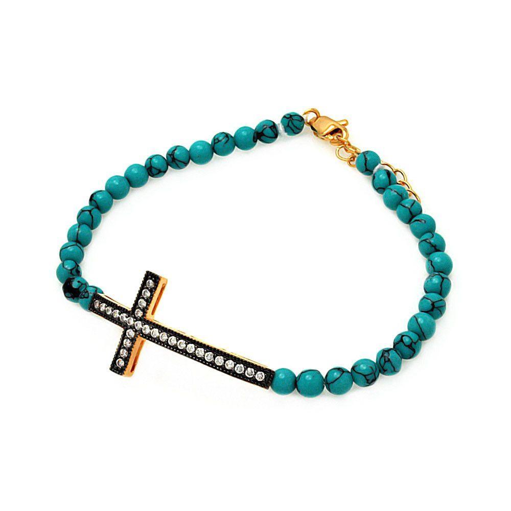 """Women's Rose Gold Over Sterling Silver 925 Sideway Cross Bead Chain Bracelet 7"""""""" 567-bgb00120"""