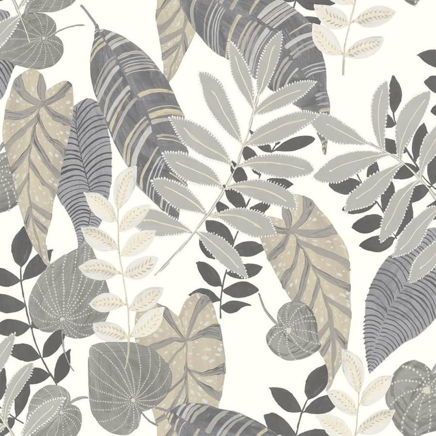 Seabrook Designs 60 75 Sq Ft Charcoal And Stone Tropicana Leaves Bohemian Unpasted Wallpaper Lowes Com Boho Wallpaper Botanical Wallpaper Leaf Wallpaper