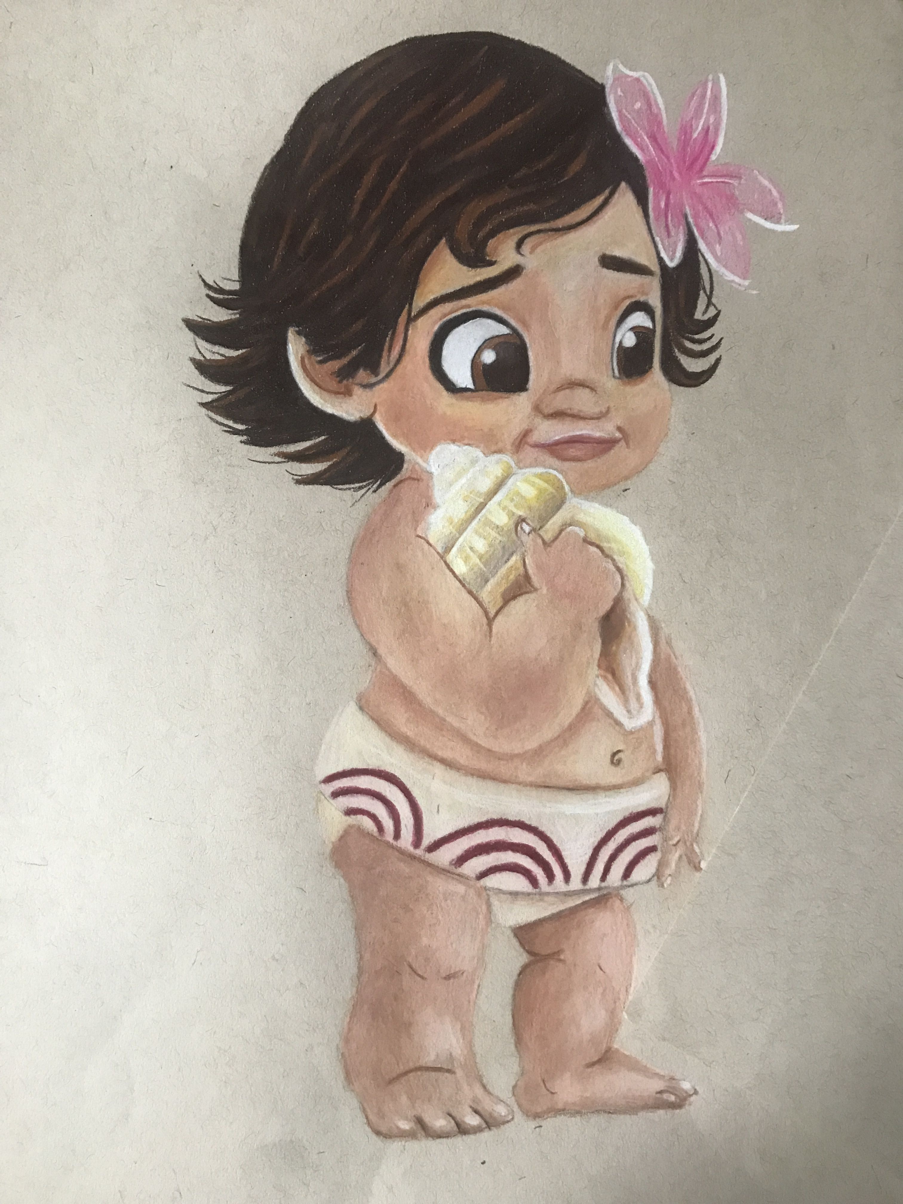 Colored pencil drawing of baby moana art ideas pinterest