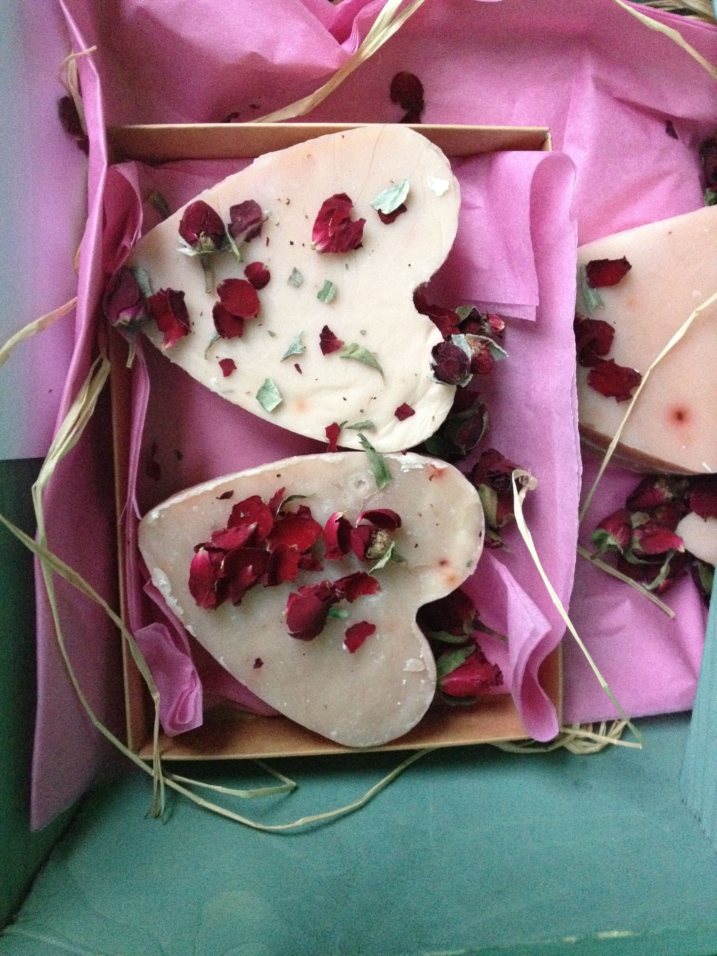 Rose and patchouli soap made for Valentine's Day. It was scented with rose and patchouli and coloured with rose madder - gorgeous!